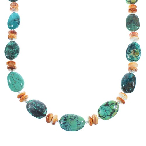 American Indian Navajo Silver Turquoise And Oyster Shell Bead Necklace TX104349