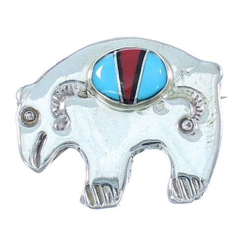 Authentic Sterling Silver Multicolor Inlay Navajo Bear Pin SX104535