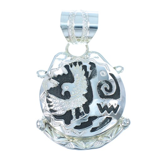 Genuine Sterling Silver Navajo Eagle And Water Wave Pendant SX104437