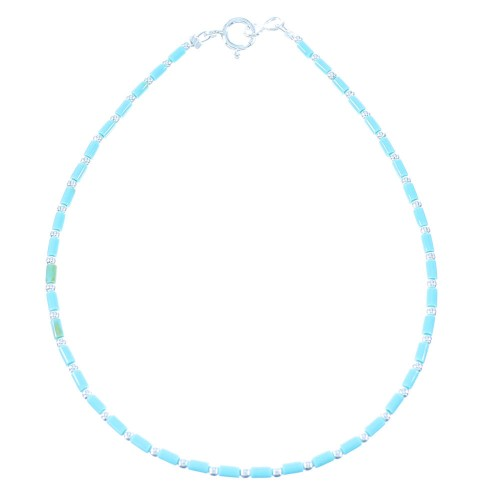 Turquoise Authentic Sterling Silver Navajo Bead Anklet TX104672