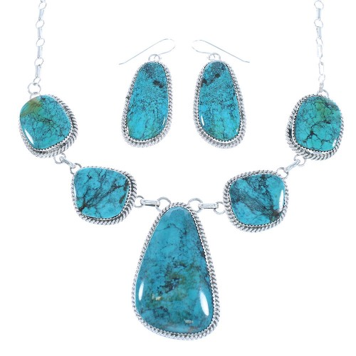 Native American Navajo Authentic Sterling Silver Turquosie Link Necklace Earrings Set TX104669