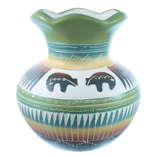American Indian Navajo Bear Hand Crafted Pottery TX104912