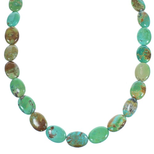 Southwestern Turquoise And Authentic Sterling Silver Bead Necklace SX104875