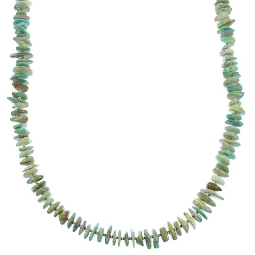 Sterling Silver Turquoise Navajo Bead Necklace TX104804