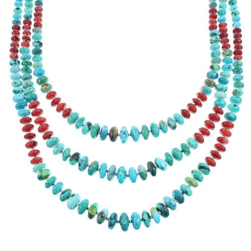 Turquoise And Coral Sterling Silver Navajo 3-Strand Bead Necklace SX105016
