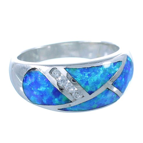 Southwest Sterling Silver Blue Opal Ring Size 7-3/4 EX56089