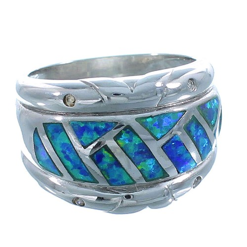 Blue Opal Inlay And Genuine Sterling Ring Size 6-1/2 Jewelry AS50072
