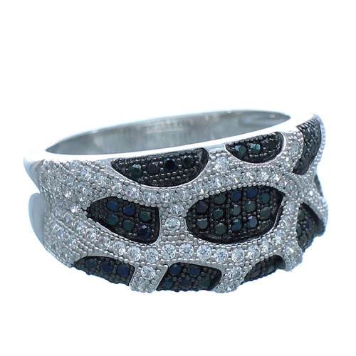 White Black Cubic Zirconia Sterling Silver Ring Size 9 Jewelry AS54956