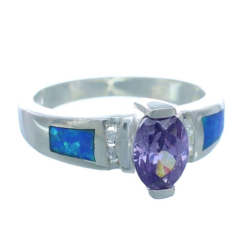 Tanzanite And Blue Opal Sterling Silver Ring Size 7-3/4 DS49785