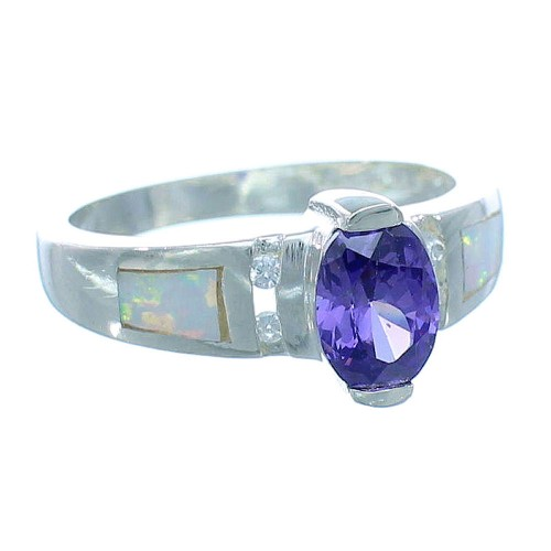 Amethyst Opal Inlay Sterling Silver Ring Size 5-1/2 EX53244