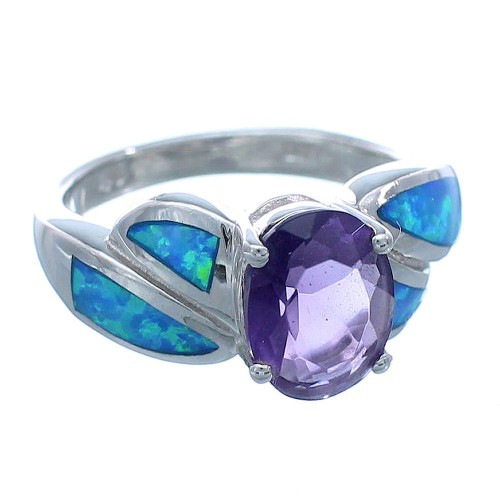 Genuine Sterling Silver Amethyst Blue Opal Ring Size 6 Jewelry DS49086