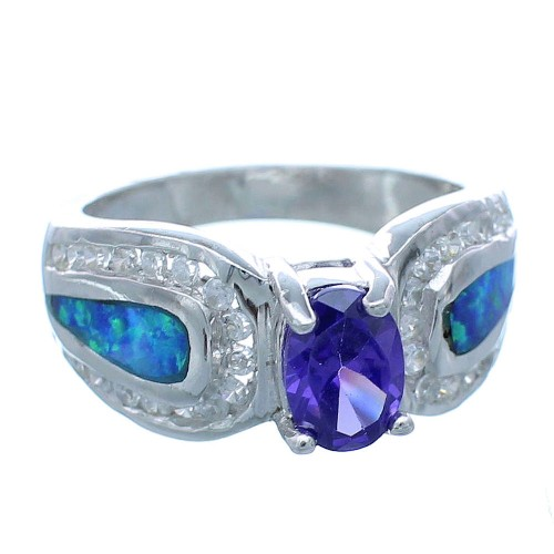 Amethyst Blue Opal Sterling Silver Jewelry Ring Size 6-1/2 DS49038