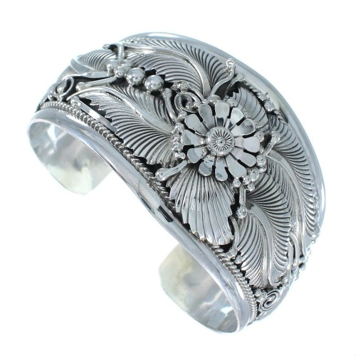 Genuine Sterling Silver Flower And Leaf Navajo Cuff Bracelet SX105088