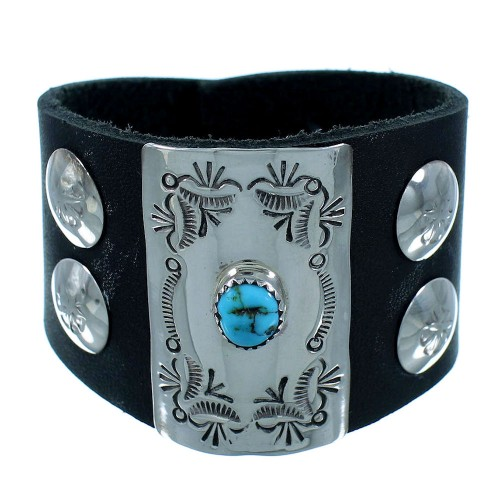 Navajo Authentic Sterling Silver Turquoise Bow Guard Leather Cuff Bracelet SX105109