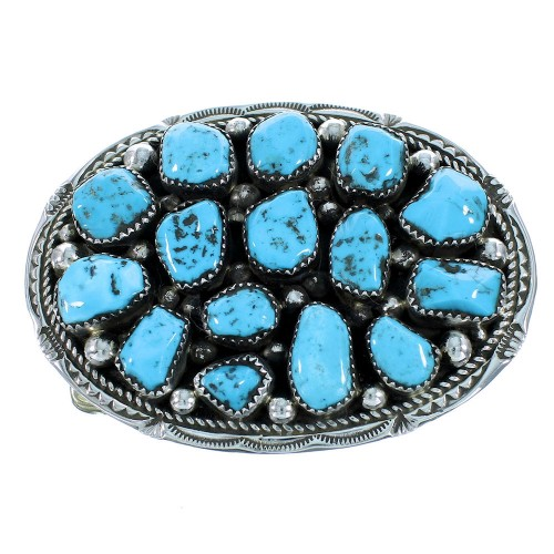 Genuine Sterling Silver Turquoise Navajo Indian Belt Buckle SX105253