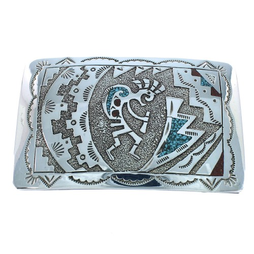 Turquoise And Coral Genuine Sterling Silver Navajo Kokopelli Belt Buckle SX105288