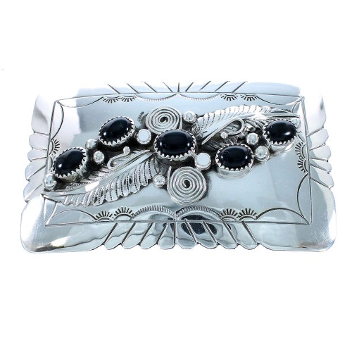 Native American Sterling Silver Onyx Leaf Belt Buckle SX105300