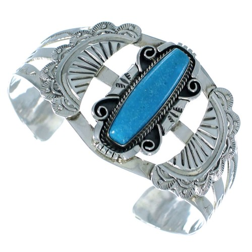 Turquoise And Sterling Silver Navajo Indian Cuff Bracelet SX105340