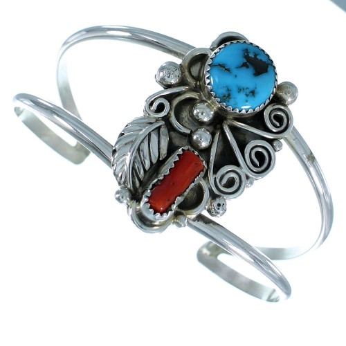Coral Turquoise Sterling Silver Native American Leaf Cuff Bracelet RX105301