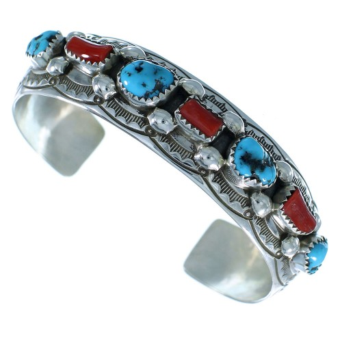 Turquoise And Coral Genuine Sterling Silver Navajo Cuff Bracelet RX105307