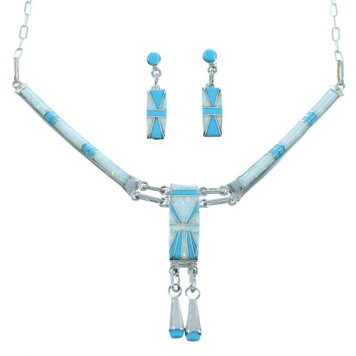 Zuni Authentic Sterling Silver Turquoise And Opal Link Necklace Earrings Set SX105385
