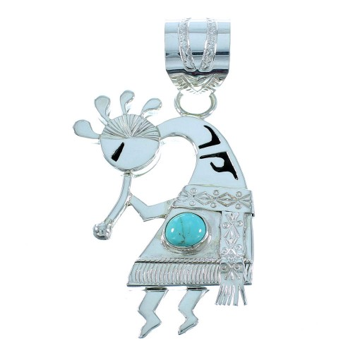 Native American Turquoise Genuine Sterling Silver Kokopelli Pendant SX105532