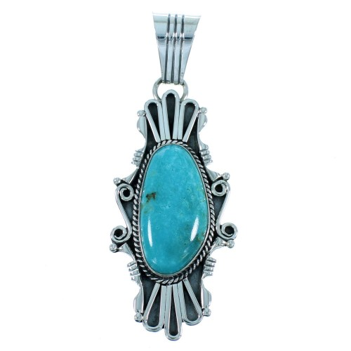American Indian Authentic Sterling Silver Turquoise Pendant SX105686