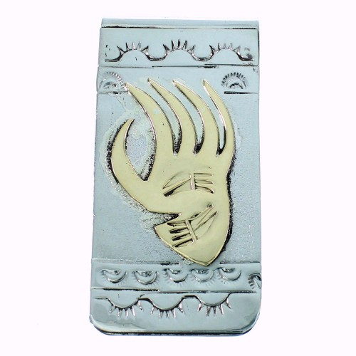 Bear Paw American Indian Authentic Sterling Silver And 12KGF Money Clip SX105625