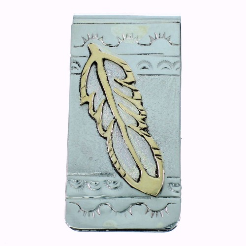Feather American Indian Sterling Silver And 12KGF Money Clip SX105631