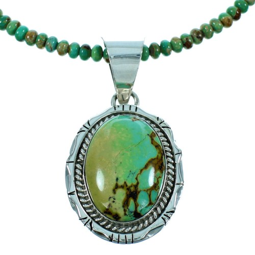 Sterling Silver Turquoise American Indian Bead Necklace Set RX105788