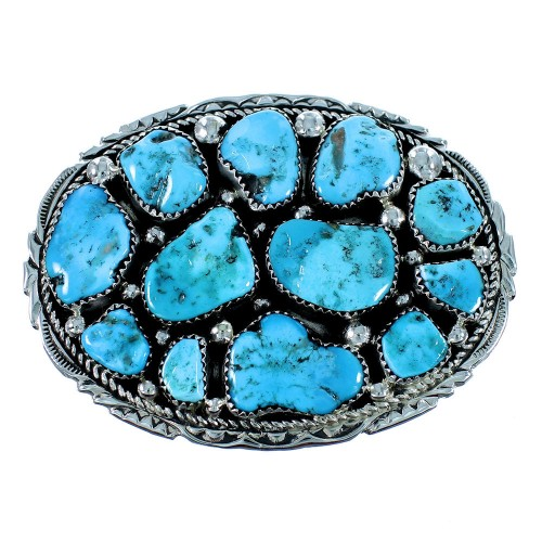 Authentic Sterling Silver Turquoise Navajo Indian Belt Buckle RX105659