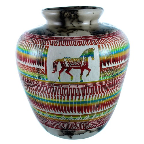 Hand Crafted Horse Hair Navajo Horse Pot By artist Arlene Begay SX105696