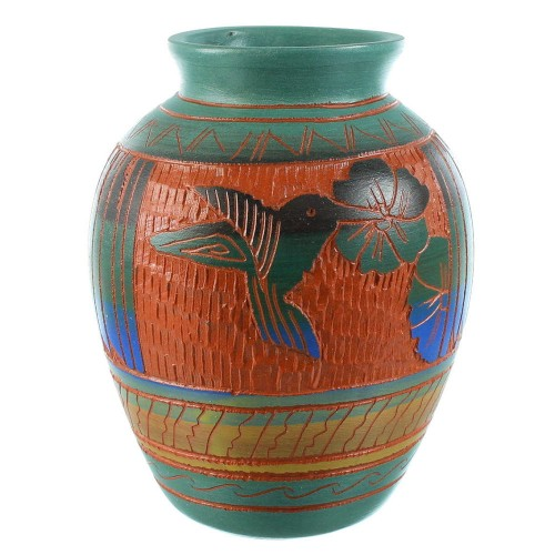 Navajo Hand Crafted Hummingbird And Flower Pot By Artist Bernice Watchman Lee SX105751