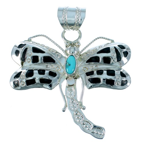 Navajo Turquoise Sterling Silver Dragonfly Pendant SX105995