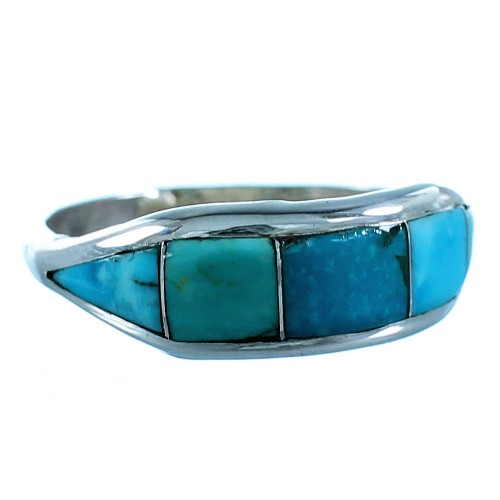 Zuni Turquoise Inlay Sterling Silver Jewelry Ring Size 6-1/2 SX106342