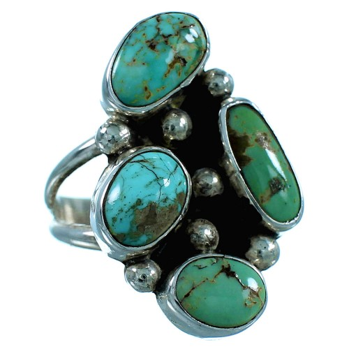 Genuine Sterling Silver And Turquoise Navajo Ring Size 6-1/4 SX106405
