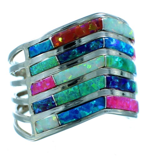 Zuni Native American Genuine Sterling Silver Multicolor Opal Inlay Ring Size 8-3/4 SX106092