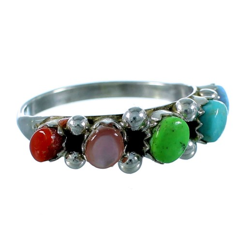Multicolor Authentic Sterling Silver Zuni Indian Ring Size 7-1/4 SX106159