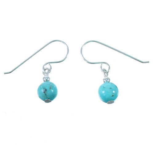Turquoise Authentic Sterling Silver Navajo Bead Hook Dangle Earrings RX106477