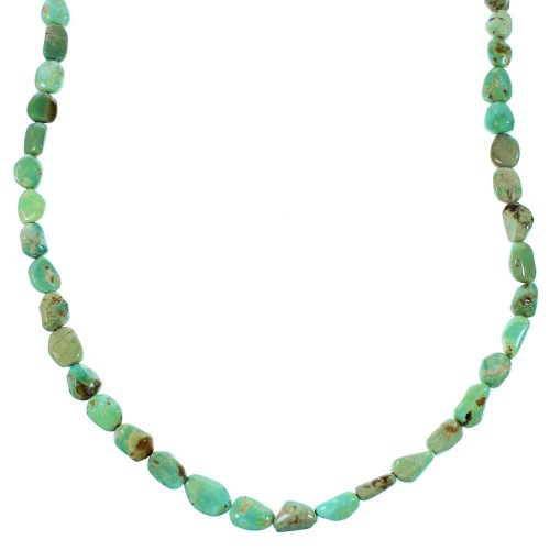 Genuine Sterling Silver Turquoise Bead Necklace SX106629