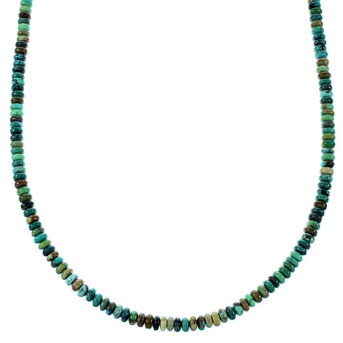 Sterling Silver And Southwest Kingman Turquoise Bead Necklace SX106638