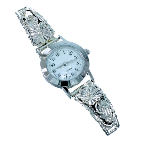 Navajo Indian Genuine Sterling Silver Flower Watch RX106745