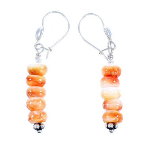 Genuine Sterling Silver Oyster Shell Bead Native American Hook Dangle Earrings RX106812