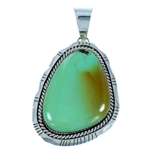 Authentic Sterling Silver And Turquoise Native American Pendant SX106890
