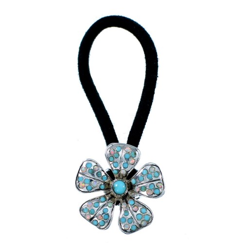 Turquoise And Opal Flower Sterling Silver Hair Band RX106924