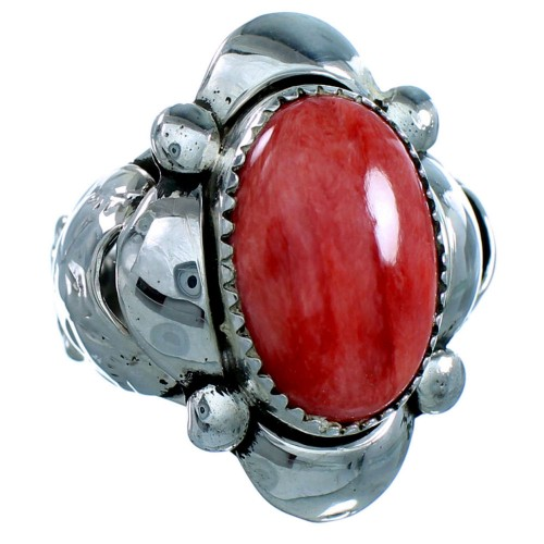 Red Oyster Shell Sterling Silver Navajo Ring Size 7-3/4 SX107455