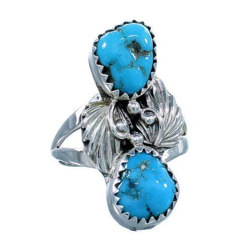 Native American Sterling Silver Turquoise Leaf Ring Size 8-3/4 SX10818
