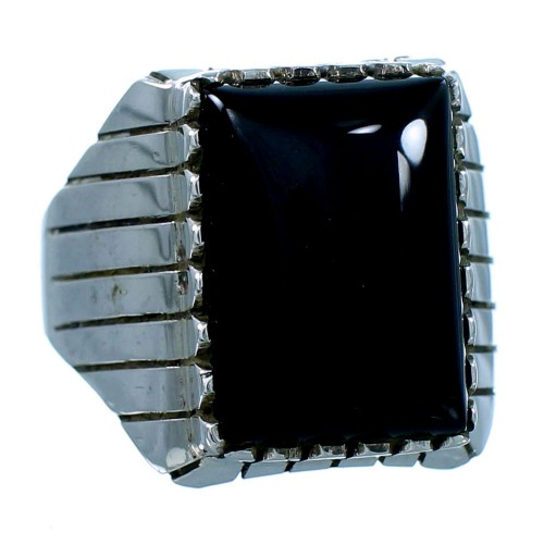 Ray Jack Genuine Sterling Silver Navajo Onyx Ring Size 11-3/4 SX107837