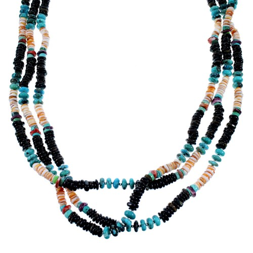 Navajo Indian Sterling Silver Multicolor Bead Necklace DS56154