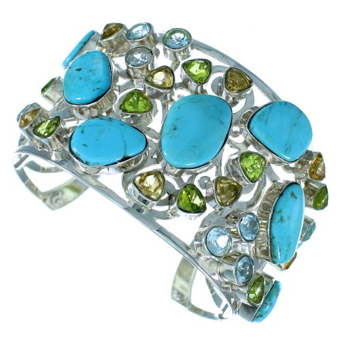Multicolor Sterling Silver Cuff Bracelet Jewelry GS57423